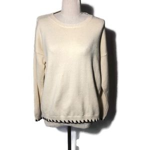 Emory Park XS ivory sweater with brown whips rich